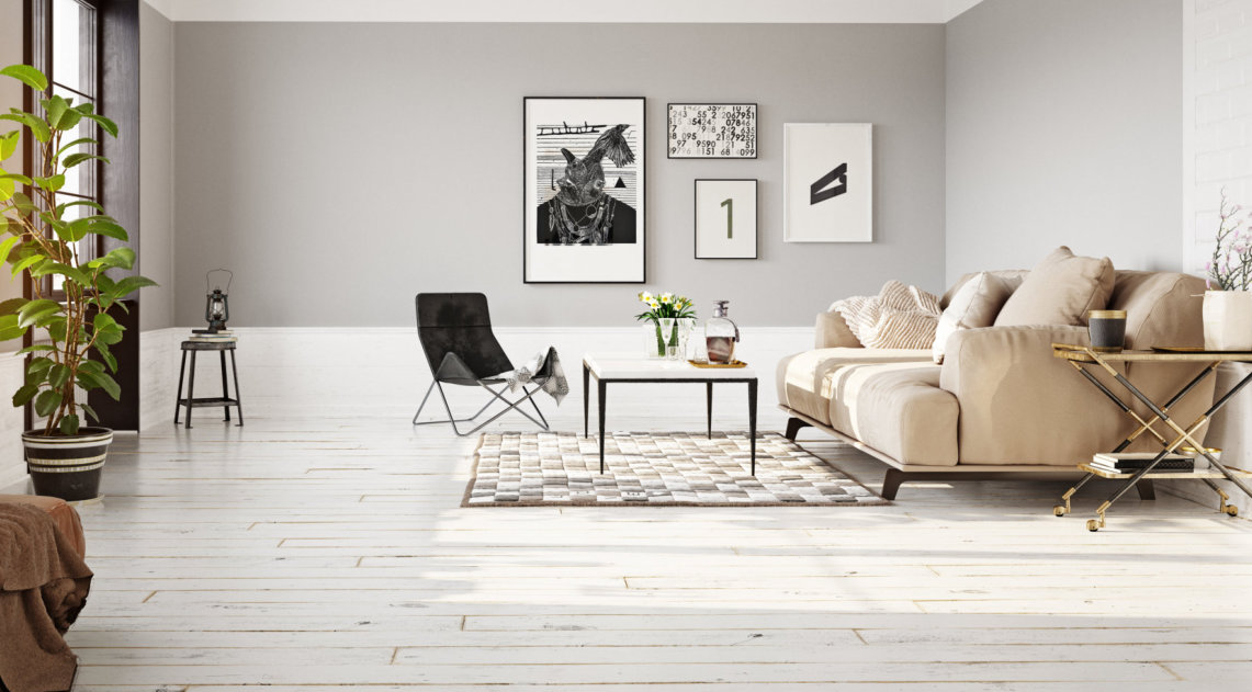 living room with a wooden floor tiles